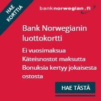 Bank Norwegian luottokortti on vuosimaksuton, vakuudeton ja takaukseton.
