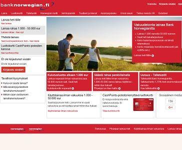 Norwegian Bank on monipuolisin nettipankki Suomessa