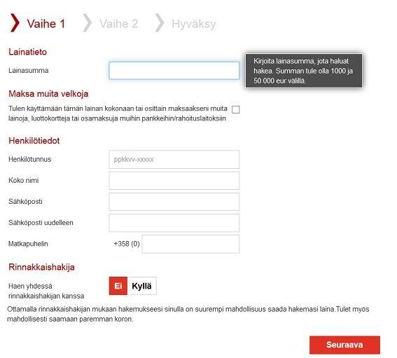 Bank Norwegian lainahakemus on kolmevaiheinen