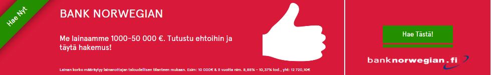 Bank Norwegian tarjoaa Suomen suosituinta lainaa heti netistä tilille.