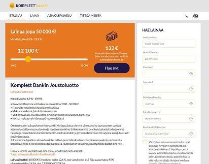 Komplett Bank pankkilainaa saat heti tilille nettihakemuksella.