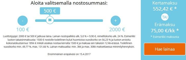 Vippi.fi:n lainalaskuri näyttää lainan kustannukset.