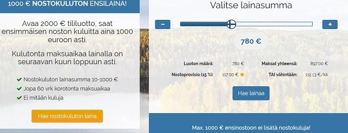 Valitse ensin lainasumma ja muista, että 1000 euroon asti se on koroton.
