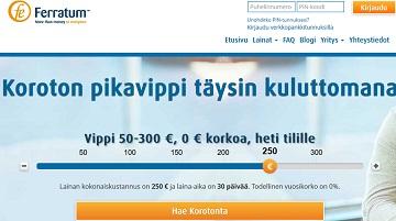 Jos haluat pienehkön korkeintaan 300 euron suuruisen lainan tilillesi, niin Ferratum Koroton on ilmainen laina uusille asiakkaille